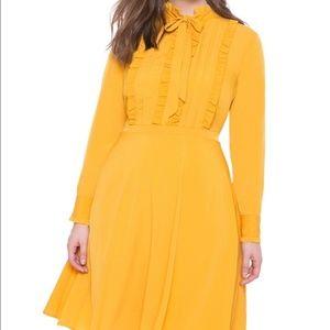 Eloquii Mustard Yellow Tie Neck Flare Shirt Dress